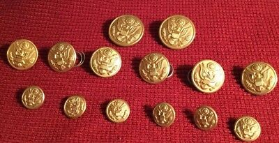 14 Vintage Military Brass Uniform Gold Tone Eagle Waterbury & Superior Buttons