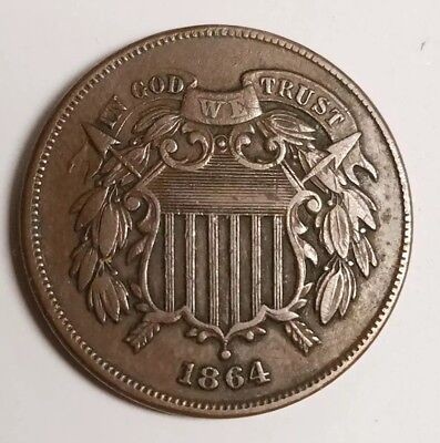 """1864 Two Cent Piece Large Motto Original Chocolate Brown! Strong """"WE"""" XF"""
