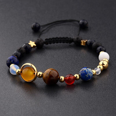 Douvei Universe Solar System Galaxy Eight Planets Stone Beads Braided Bracelet