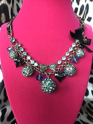 Betsey Johnson Blue Lagoon GORGEOUS Blue Green Crystal Paved Ball Bow Necklace