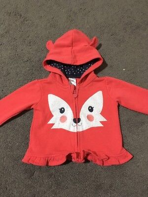 Baby Girls Long Sleeve Hooded Jacket Size 0 GUC