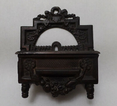 Antique - Cast Iron Wall Hanging Match Safe, Patented 1871 (Complete)