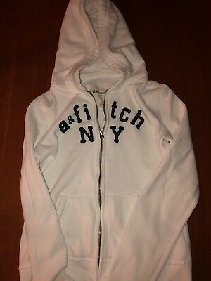 Abercrombie Kids sz XL girls zip up white hoodie w/ navy