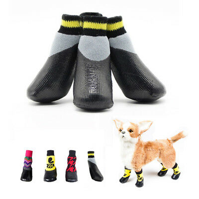 4pcs Pet Dog Shoes Soft Puppy Waterproof Boots Small Dog Outdoor Anti-slip Shoes