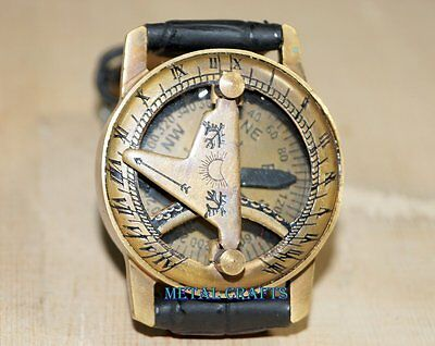 Antique Brass Compass Wrist Watch Look And US Marine Hand Nautical Jewelry Gifts