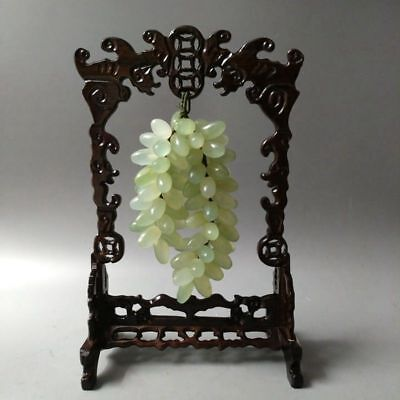 Very Exquisite Chinese Hand-carved Natural Xiuyan Jade Grape Statue  wood  frame