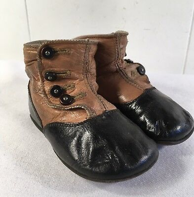 Antique Victorian Baby Shoes Leather 4 Button Up Child's Black Tan Hi- Tops