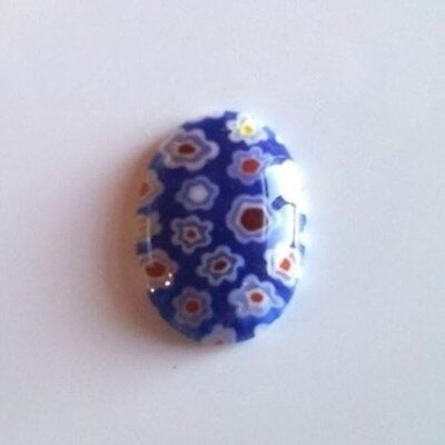 Millefiori Art Glass Cabochons 18x13mm Oval Cobalt Blue Red White Flowers (2)