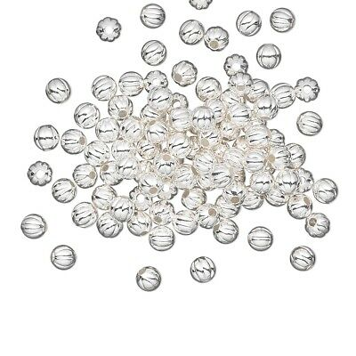 Bulk Silver Plated Brass 3mm Corrugated Ribbed Round Spacer Beads 100 pcs