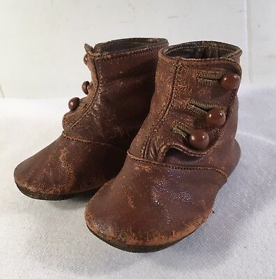 Antique Victorian Baby Shoes Leather 3- Button Up Child's Toddler Brown Hi-Tops
