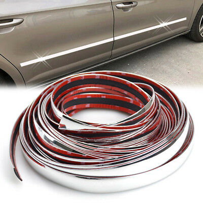 6M Car Styling Chrome Side Rocker Panel Trim Door Molding 20mm Accessories PVC