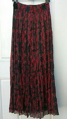 2ebe0f8c35 Alice + Olivia Shannon Red Blue Print Pleated Maxi Chiffon Skirt size US 4