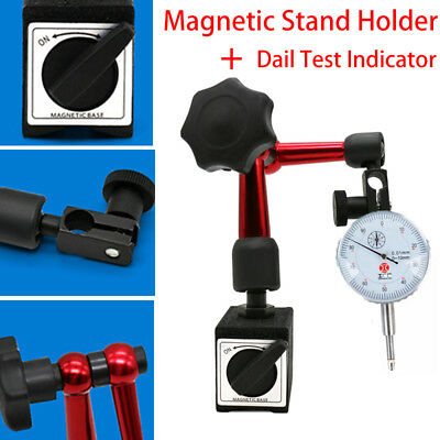 Adjustable Magnetic Base Stand Holder With Dial Test Indicator Gauge White-face