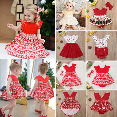 XMAS Newborn Toddler Baby Girl Floral Lace Romper Dress Skirt Outfits Clothes AU