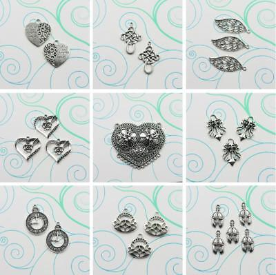 Bulk Lot Tibetan Silver Heart-Shaped Flowers Charm Connector Pendant DIY Jewelry