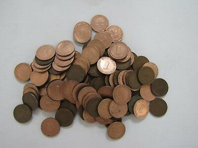 Lot of 100 Old Germany 1950 1 Pfennig Coins - All 4 Mints - Decent Circulated