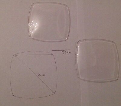 2 Replacement Alarm Clock Glass 70mm Diagonal, Square With Curved Sides Acrylic