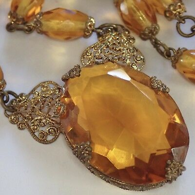 Antique Art Deco Gilt Brass Filigree Amber Citrine Czech Glass Necklace