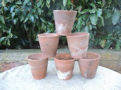 "6 Old Hand Thrown Vintage Terracotta Plant Pots 4"" Diameter Herb Pots (401)"