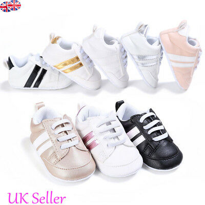 Newborn Baby Boy Girl Crib Pram Shoes PreWalker Soft Sole Slippers Trainers 0-18