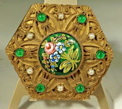 Antique French Empire  Jeweled Painted Enamel Omolu Mirrored Ladies Snuff Box