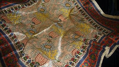 #825AA  Antique vtg TEXTILE REMNANT PRINTED Piece ASIAN ? FABRIC   22""