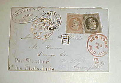 FRANCE  USA ROCKING 2cents NY PAID ALL FROM PARIS 1870 B/S LONDON