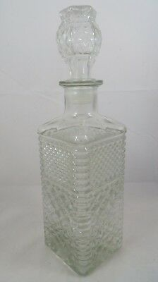 Vintage Glass Decanter Liquor Bottle Square Shape with Stopper