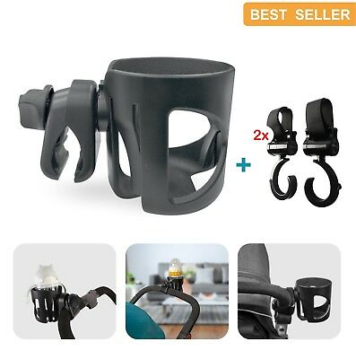 Pram Cup Holder Buggy Bottle/Coffee Holder, stroller organiser With 2 Pram Hooks