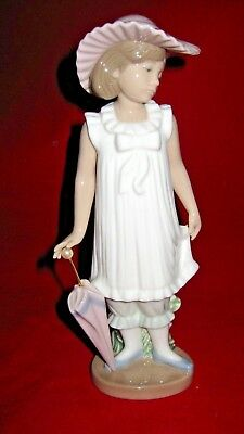 April Showers Porcelain Figurine Girl With Umbrella Nao By Lladro 1126