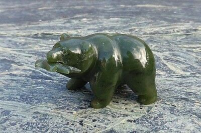 Fine Small North American Inuit Eskimo Canadian Alaskan Carved Green Stone Bear!