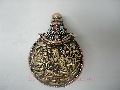 Collected China Tibet Old Copper Buddha Mosaic Turquoise Coral Snuff Bottles
