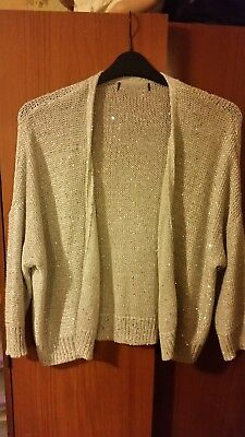 5a7544372d Ladies M And S Cream Sparkley Cardigan Size 16