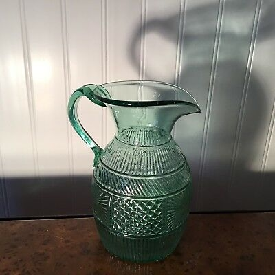 Boston & Sandwich Reproduction EAPG Glass Aqua Hand Blown Three Mold Pitcher