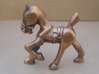"""Stylized Solid Metal Copper Horse Figurine Heavy 3"""" Tall"""