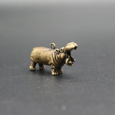 Chinese Old Collectibles Pure brass God beast hippo small pendant