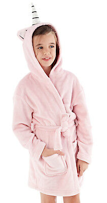Plush 3D Unicorn Dressing Gown Hooded Character Bath Robe Kids House Coat Gift