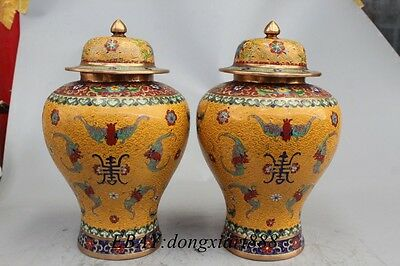 Chinese Bronze Cloisonne Enamel Lucky longevity five Fu Bat King Bottle Pot Vase