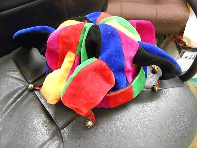 71a8e1b16bf Court Jester Clown Hat Bells Jingle Multi Colour Joker Fan Dress Novelty  Footy