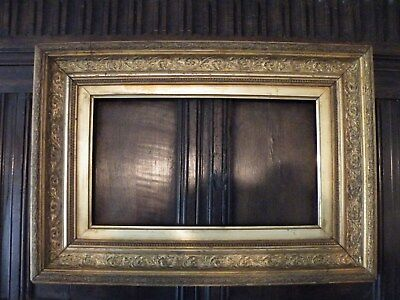 Very Fine Outstanding Antique Broad Ornate Patinated Giltwood Picture Frame