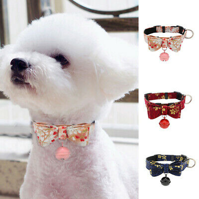 New Dog Collar Cute Pet Puppy Cat Adjustable Buckle Bowknot Neck Strap With Bell