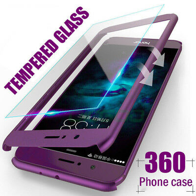 360° Full Body Shockproof Case Slim Cover+Tempered Glass For Huawei Phones