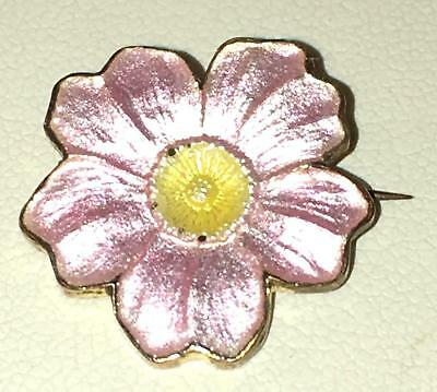 Antique Art Nouveau Pink Enamel Flower Gilt Brass Brooch Blossom Pin 1