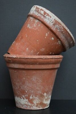 Pair of Vintage Terracotta Herb / Plant Pots vintage clay garden old planter
