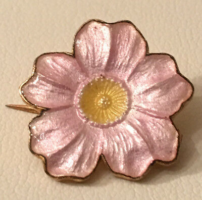 Antique Art Nouveau Pink Enamel Flower Gilt Brass Brooch Blossom Pin 2
