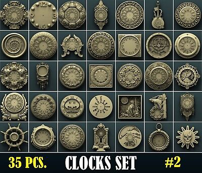 3d STL Model Relief for CNC Router Aspire Artcam _ 35 Pcs Wall Clocks Set