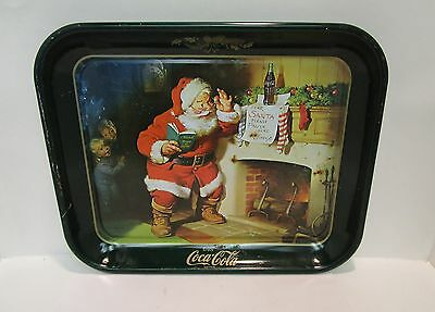 Coca Cola Serving Tray with Santa Standing by Fire Place with Good & Bad Book XX