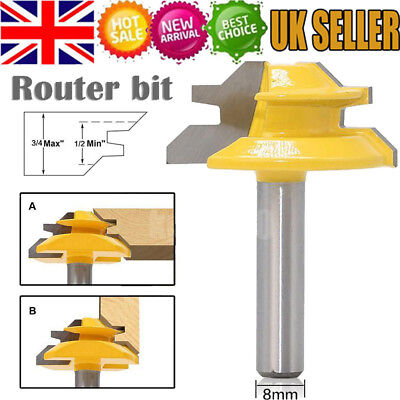 45 Degree Lock Miter Router Bit Woodwork Tenon Cutter Tool With 1/2'' Shank UK