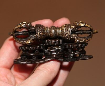 Antique Chinese Tibetan Buddhist Gilt Bronze Vajra on Stand, QING DYNASTY, RARE.