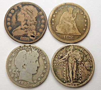 1837 Capped Bust, 1876 Seated Lib, 1893-O Barber, 1918-D Stand Lib Quarters #D1